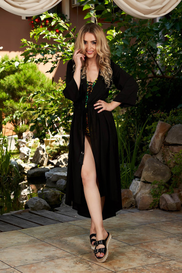 StarShinerS black dress beach wear midi from veil fabric is fastened around the waist with a ribbon