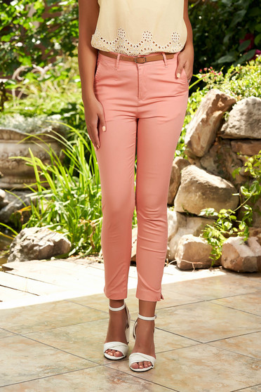 Lightpink trousers casual conical cotton with front pockets with an accessory