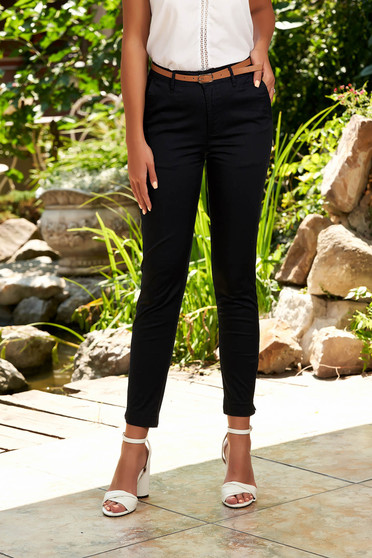 Darkblue trousers casual conical cotton with front pockets with an accessory