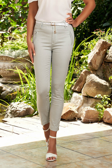 White trousers casual conical cotton with graphic details accessorized with belt