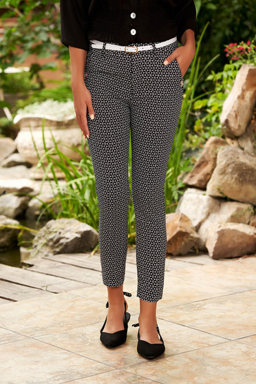 Black trousers casual medium waist cotton conical with graphic details