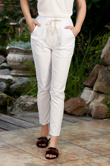 White trousers casual medium waist cotton with elastic waist straight