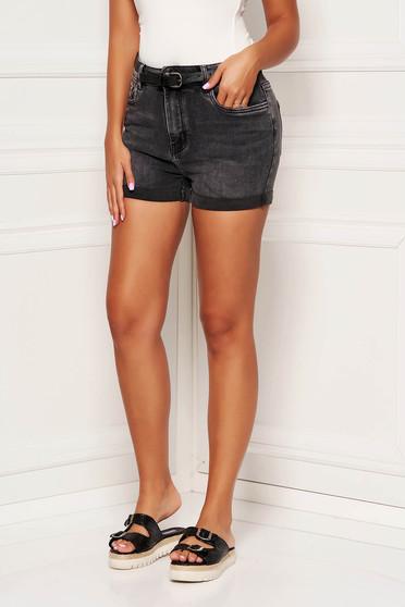 Darkgrey short casual denim with pockets medium waist