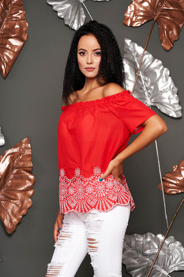 Red women`s blouse casual cotton flared short sleeves on the shoulders