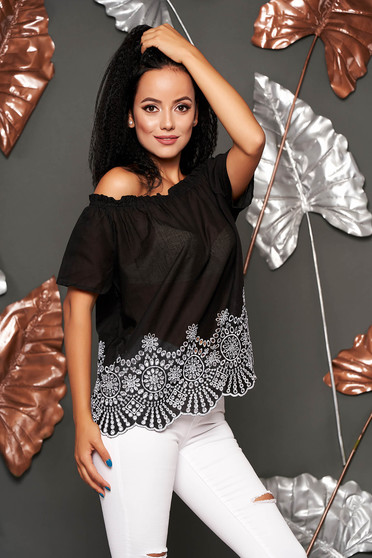 Black women`s blouse casual cotton flared short sleeves on the shoulders