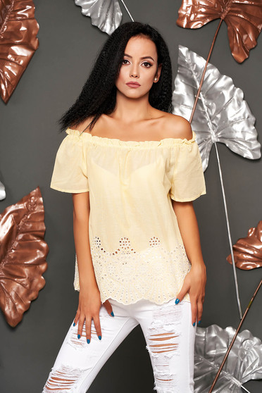 Yellow women`s blouse casual cotton flared short sleeves on the shoulders