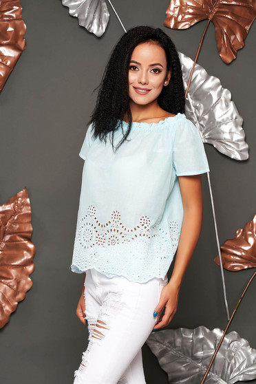 Lightblue women`s blouse casual cotton flared short sleeves on the shoulders