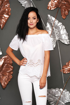 White women`s blouse casual cotton flared short sleeves on the shoulders