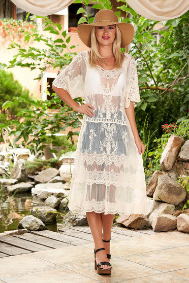 Ivory dress casual midi laced with rounded cleavage