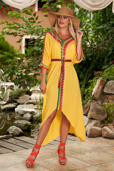 Yellow dress casual flared cotton with 3/4 sleeves knitted fabric