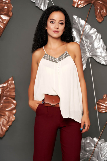 Ivory top shirt casual with straps with deep cleavage flared