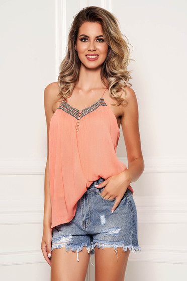 Peach top shirt casual with straps with deep cleavage flared