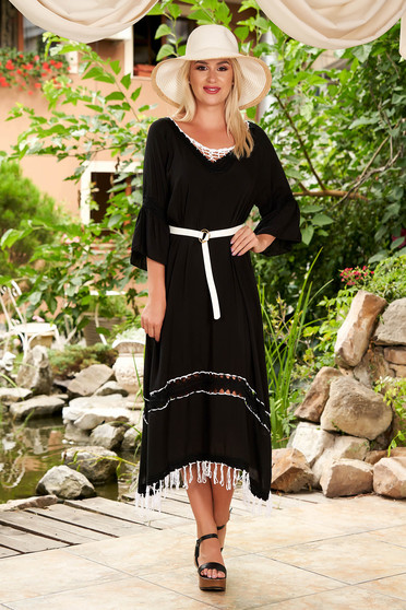 Black dress beach wear flared cotton with bell sleeve