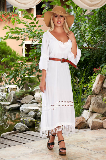 White dress beach wear flared cotton with bell sleeve
