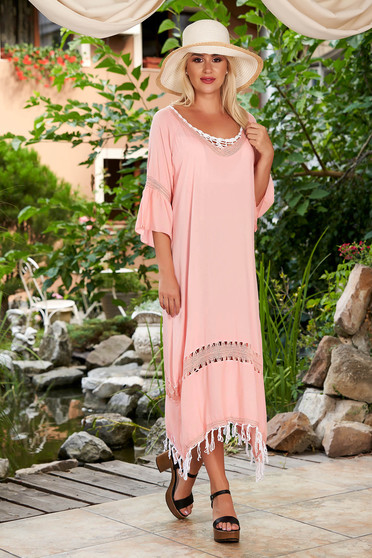Peach dress beach wear flared cotton with bell sleeve