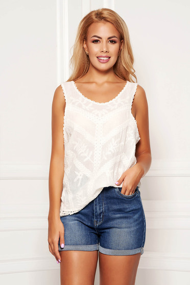 Ivory top shirt casual cotton flared sleeveless with rounded cleavage