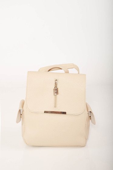 Casual cream backpacks from faux leather with lateral pockets and adjustable straps
