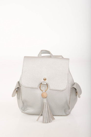 Silver backpacks casual faux leather lateral pockets adjustable straps
