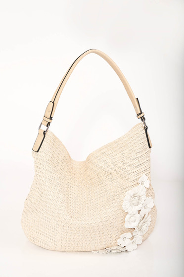 Nude casual beach wear bag with floral details and zipper fastening