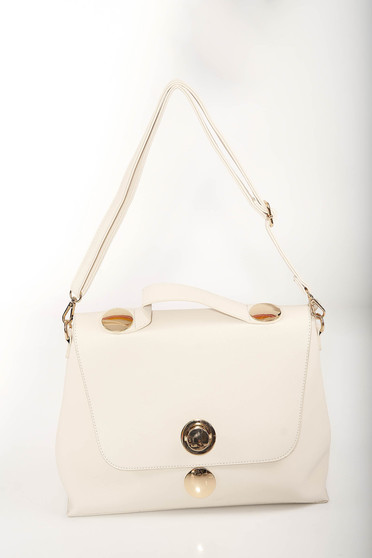 Ivory elegant bag from faux leather with golden metallic details and dettachable shoulder strap