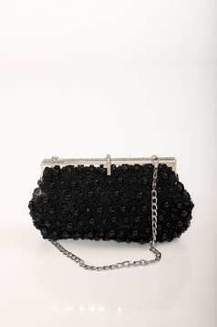 Black bag occasional detachable chain with pearls with crystal embellished details