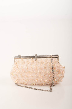 Lightpink bag occasional detachable chain with pearls with crystal embellished details