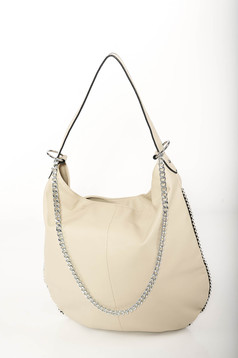 Cream casual bag from ecological leather metallic chain accessory