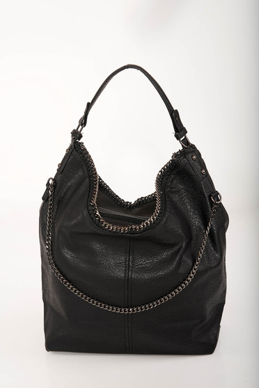Black bag casual from ecological leather short handles long chain handle