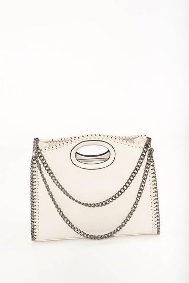 Cream bag casual faux leather short handles dettachable shoulder strap