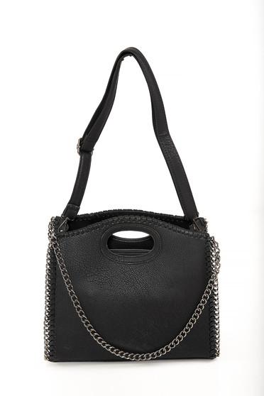 Black bag casual faux leather short handles dettachable shoulder strap