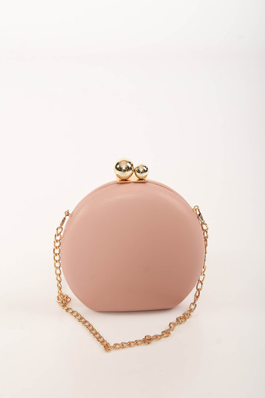 Lightpink bag occasional faux leather long chain handle