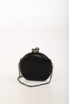 Black bag occasional faux leather long chain handle
