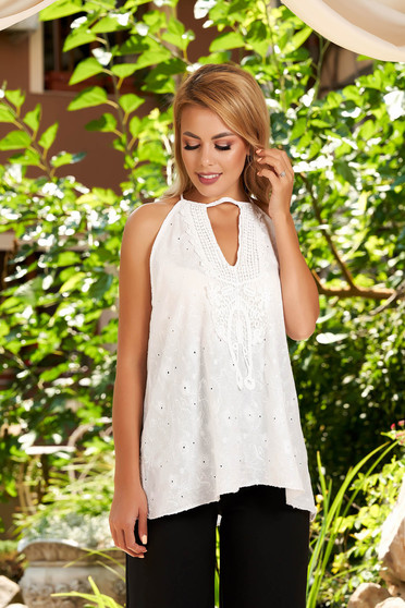 White top shirt casual flared ribbon fastening sleeveless with v-neckline naked shoulders