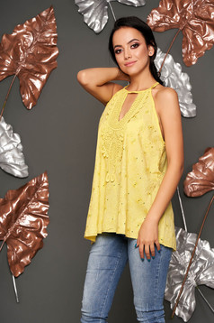 Mustard top shirt casual flared ribbon fastening sleeveless with v-neckline naked shoulders