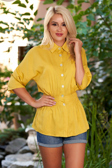 Mustard women`s shirt casual with elastic waist with 3/4 sleeves