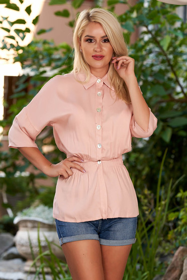 Lightpink women`s shirt casual with elastic waist with 3/4 sleeves