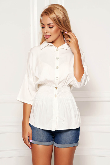 White women`s shirt casual with elastic waist with 3/4 sleeves