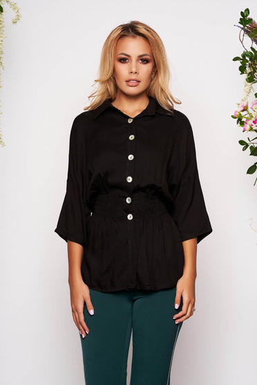 Black women`s shirt casual with elastic waist with 3/4 sleeves