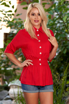 Red women`s shirt casual with elastic waist with 3/4 sleeves