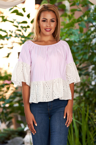 Lightpink women`s blouse casual short cut cotton with bell sleeve naked shoulders
