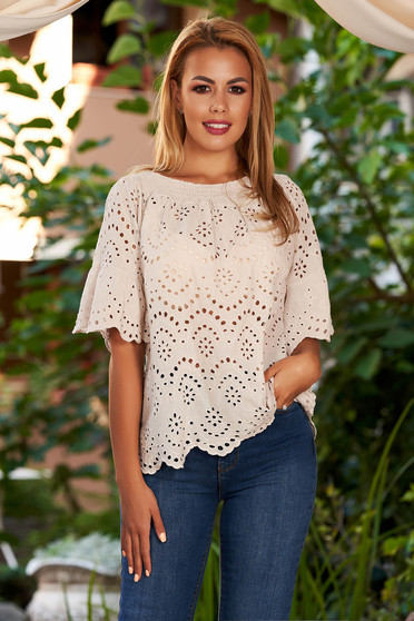 Cream women`s blouse casual cotton flared naked shoulders with bell sleeve