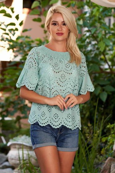 Mint women`s blouse casual cotton flared naked shoulders with bell sleeve