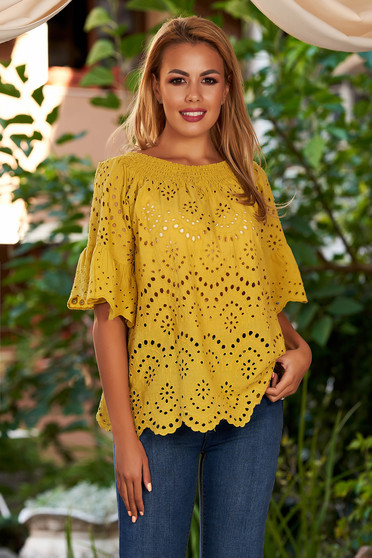 Mustard women`s blouse casual cotton flared naked shoulders with bell sleeve