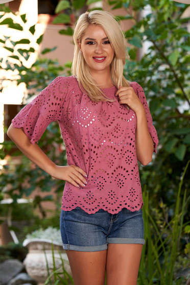 Raspberry women`s blouse casual cotton flared naked shoulders with bell sleeve