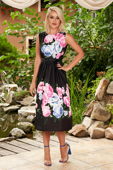 Black dress daily midi cloche with floral print sleeveless detachable cord