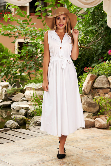 Daily midi cloche white cotton dress with elastic waist detachable cord