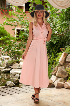 Daily midi cloche lightpink cotton dress with elastic waist and detachable cord