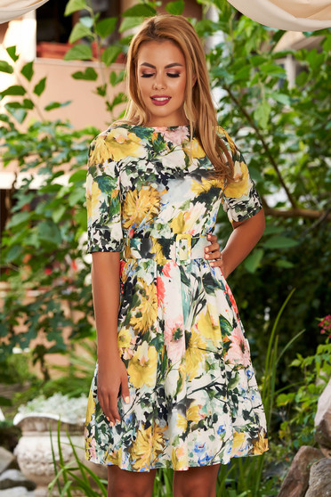 Yellow dress daily short cut cloche with floral print with rounded cleavage with elastic waist