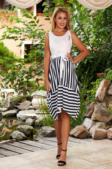 White dress casual daily midi asymmetrical with stripes sleeveless