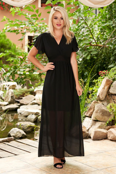 Black dress daily maxi dresses from veil fabric with deep cleavage frilly trim around cleavage line